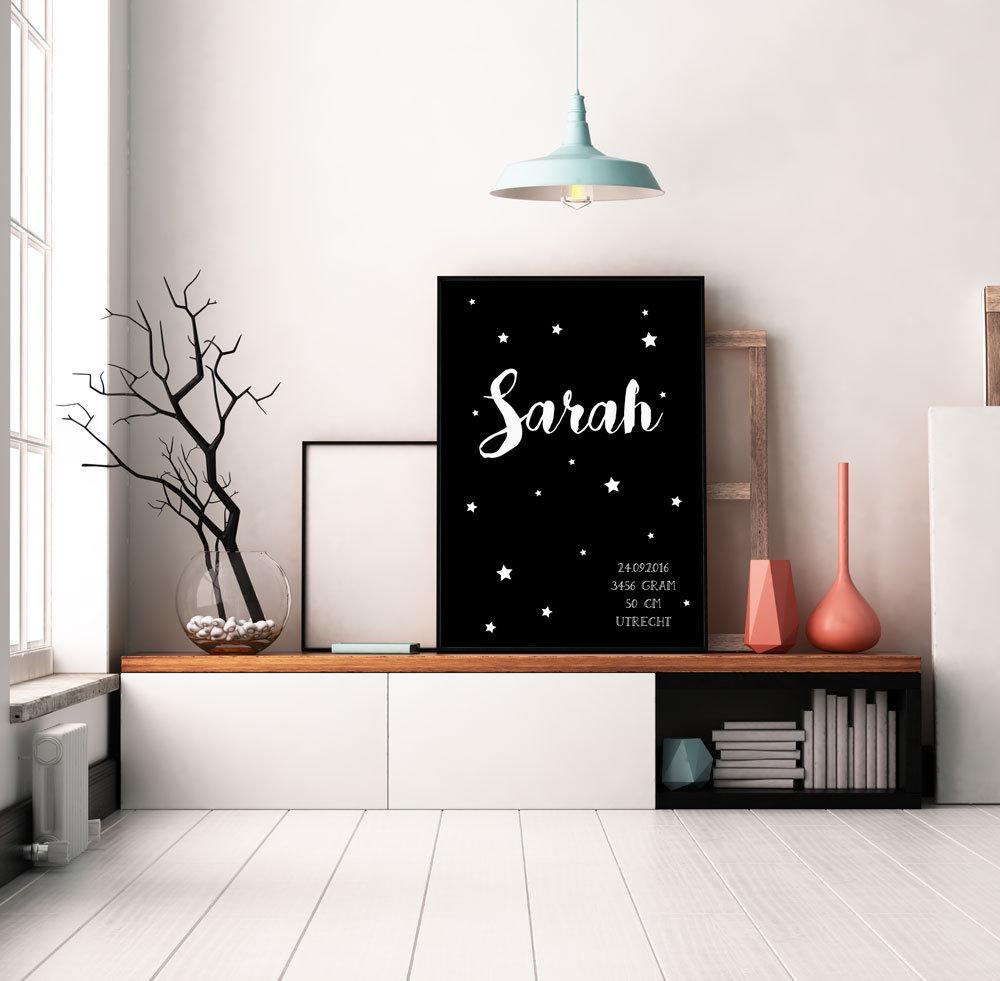 Geboorteposter sterren   zwart wit   designclaud