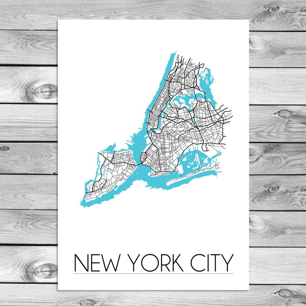 Stadskaart poster new york city plattegrond kaart van new york city designclaud - Sfeer new york ...
