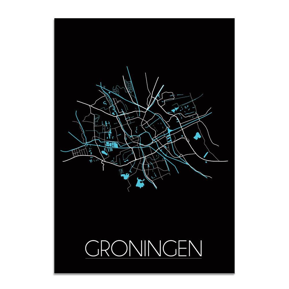 Stadskaart Poster Groningen   Plattegrond    Kaart van Groningen   Zwart   DesignClaud